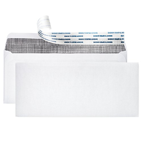 """# 10 Security Envelopes ~ 500 Letter Size Envelopes with Peel & Seal Self Adhesive + Tinted Interior for Privacy Protection ~ Printer Friendly, Boxed, 4-1/8"""" x 9-1/2"""" Each, White by Pinnacle"""