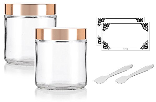 Large Clear Thick Glass Straight Sided Jar with Gold Metal Overshell Lid - 16 oz / 480 ml (2 Pack) + Spatulas and Labels