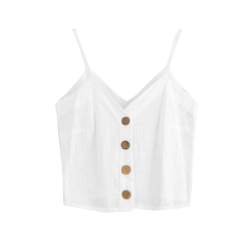 Crop Camisole for Women,SMALLE◕‿◕ 2019 Women's Fashion Self Tie Back V Neck Pearl Crop Cami Top Chiffon White