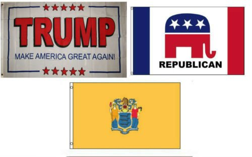 Moon 3x5 Trump White #2 & Republican & State of New Jersey Wholesale Set Flag 3x5 - Vivid Color and UV Fade Resistant - Prime Outside Garden Home Decor