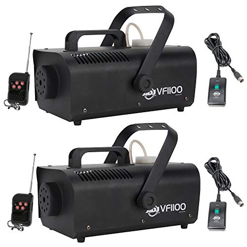 1000 Fog Machine - American DJ 1000W 1 Liter Medium Mobile Smoke Fog Machine w/Remotes (2 Pack)