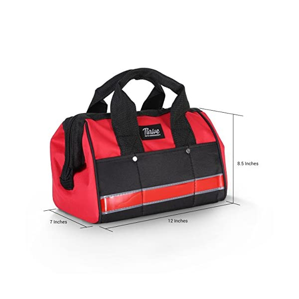 Thrive Roadside Assistance Auto Emergency Kit First Aid Kit  Rugged Tool Bag Contains Jumper Cables Tools Reflective Safety Triangle And More Ideal Winter Accessory For Your Car Or Truck