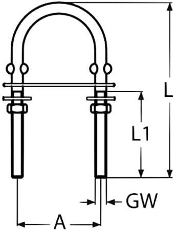 1 St/ück U-Bolzen M4 Edelstahl B/ügelbolzen Gewindeb/ügel /Öse B/ügel V2A