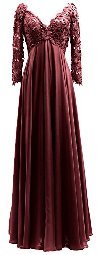 Lace Mother Neck Gown Dress Sleeves Bride Burgundy Of The Women Evening Long Macloth V qw8E8t