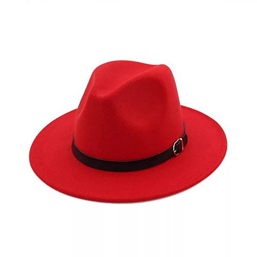 Hat Large Red Brim Wool (Lanzom Women Men Retro Style Wide Brim Panama Hat Belt Buckle Wool Fedora Hat (Red, One Size))