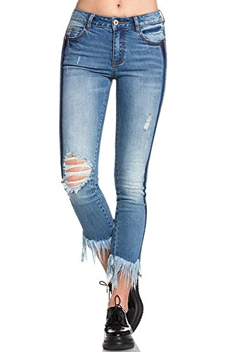 473b154b9f24 Galleon - 'Wax Women\'s Juniors Mid-Rise Skinny Jegging Jeans W Distressing  (Dark, 0)'