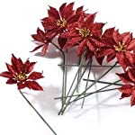 Factory-Direct-Craft-Group-of-12-Christmas-Red-Glitter-Artificial-Poinsettia-Stems-for-Holiday-and-Home-Dcor