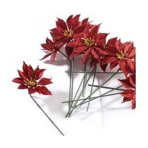 Factory Direct Craft Group of 12 Christmas Red Glitter Artificial Poinsettia Stems for Holiday and Home Décor 59