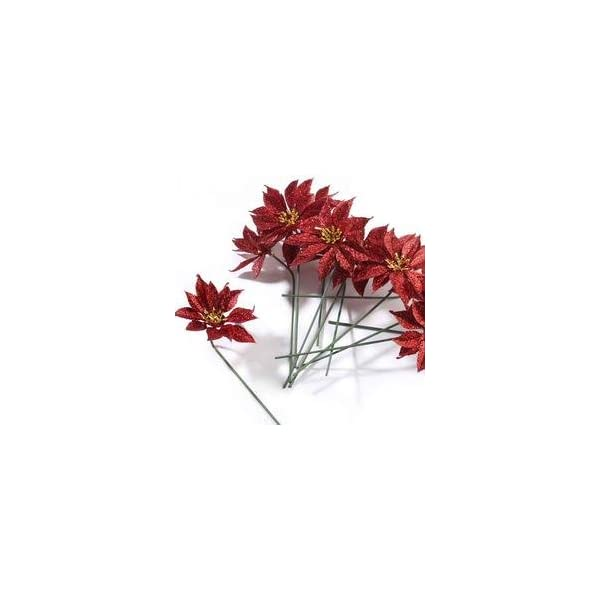 Factory Direct Craft Group of 12 Christmas Red Glitter Artificial Poinsettia Stems for Holiday and Home Décor