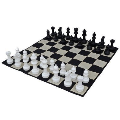 MegaChess 12 Inch Tall Chess Set and Chess Mat - Black and White - Plastic