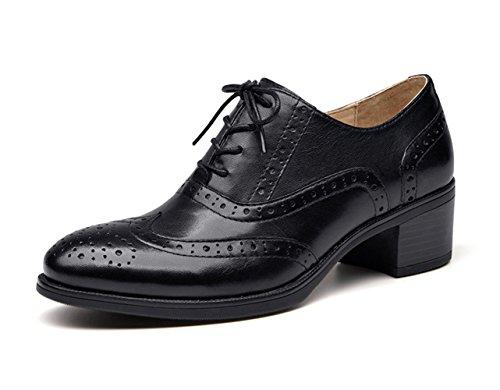 Honeystore Mujeres Retro Brogue Talla Cuero Holgazán Pisos Con Cordones Zapatos Negro