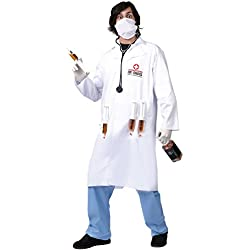 Men's Dr. Shots Adult Costume, White / Blue, One Size