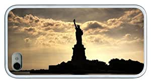 Hipster carrying iPhone 4S covers Statue of Liberty NY TPU White for Apple iPhone 4/4S