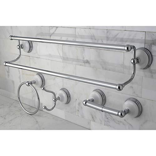 - Kingston Brass Victorian 4-Piece Polished Chrome Bathroom Accessory Set - Silver