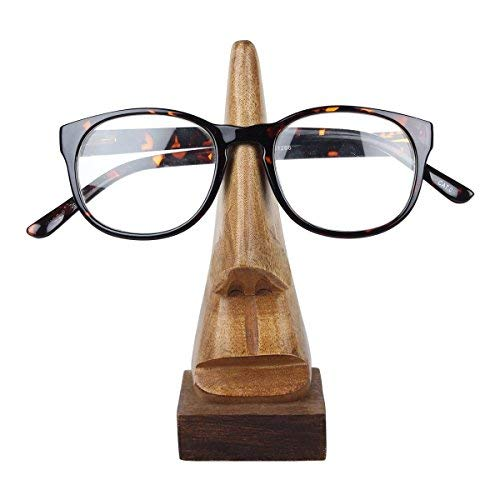 storeindya Handcrafted Wooden Eyeglass Spectacle Holder Organizer Stand Desk Desktop Sunglasses Display Eyewear Decorative Accessories Nose Shaped (Brown Collection) ()