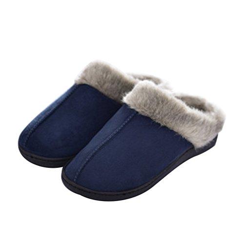 Faux On Suede Mules Comfy Slippers Womens Warm lulucheri Navy Slip Winter Fur Micro Fluffy Blue gwEIXZ1qW