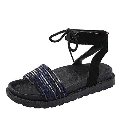 Plat Bleu Sandales Noué Ethniques Sandales Plage Plumes Peep de Talon de Femmes Femme Cross Sandales Heel Plage Beautyjourney Sandales Ugp7wq