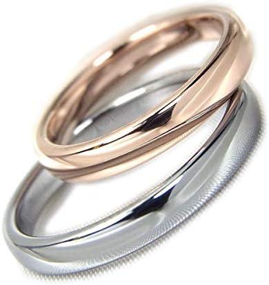 ペアリング タングステン 指輪 刻印 可能 甲丸 3mm 2個セット カップル メンズ レディース ピンクゴールド