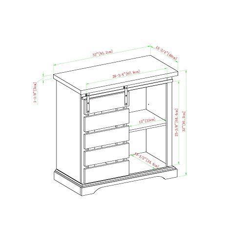 WE Furniture AZF32ALSDRO Buffet, 32'', Solid White/Rustic Oak by WE Furniture (Image #5)