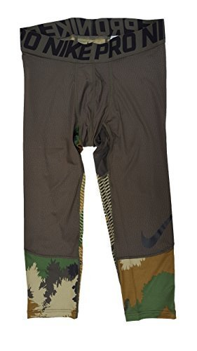 (Nike Men's Pro Hypercool Camouflage 3/4 Compression Training Tights (Large, Cargo Khaki (325) / Black/Cargo Khaki))