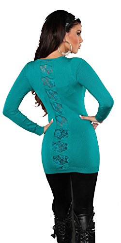 FASHION BOUTIK pull long dos dentelle et noeuds femme sexy taille 34 36 38 40 Vert
