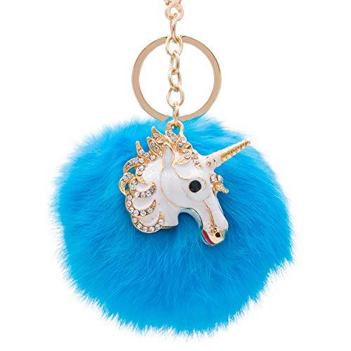 (Rabbit Fur Ball Pom Pom Keychain with Alloy Unicorn Head Inlay Rhinestone for Women Backpack Car Key Pendant Decoration (bright blue))
