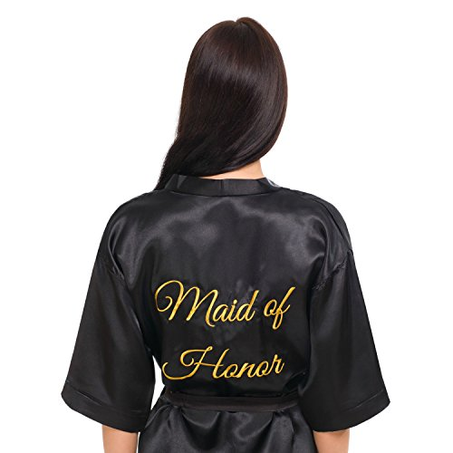 (INeedThisRobe Satin Embroidered Kimono Robe for Bride, Bridesmaid, Maid of Honor (Black - Maid of Honor in Gold, L-XL))