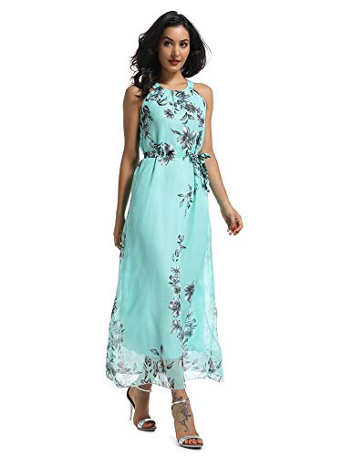 (OCHENTA Women's Sleeveless Halter Neck Floral Print Chiffon Maxi Dress, Boho Beach Wear Green M)