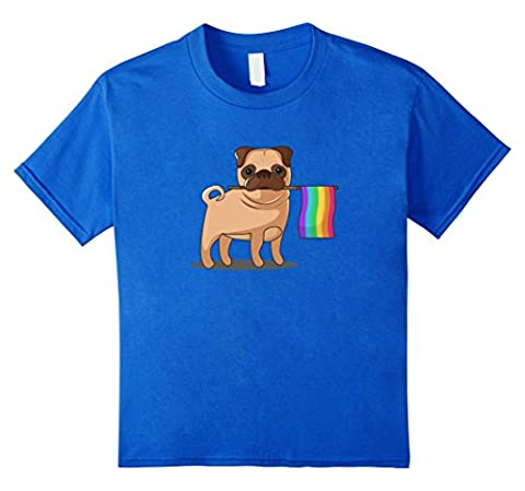 unisex-child Gay Pride Flag Pug T-Shirt - LBGT Pride Shirt 12 Royal Blue - Gay Pride Dog T-shirt