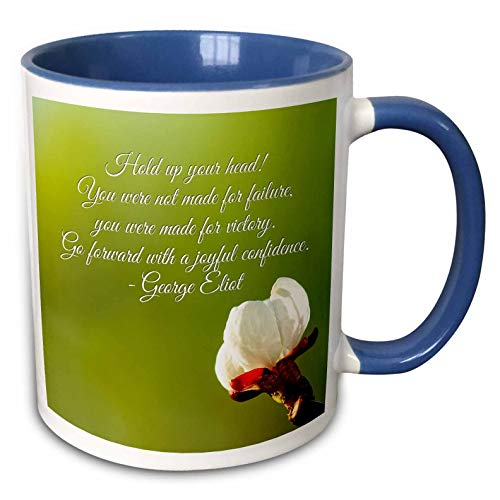 3dRose Alexis Design - Quotes Inspirational - George Eliot quote. Hold up your head. You were not made for failure - 11oz Two-Tone Blue Mug (mug_290889_6)
