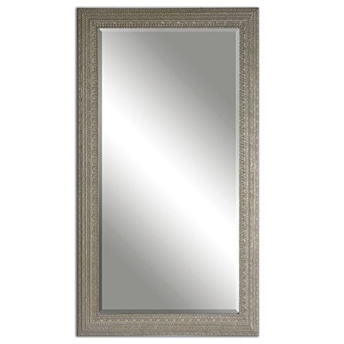 Intelligent Design Full Length Silver Beaded Frame Mirror Wall Floor Leaner
