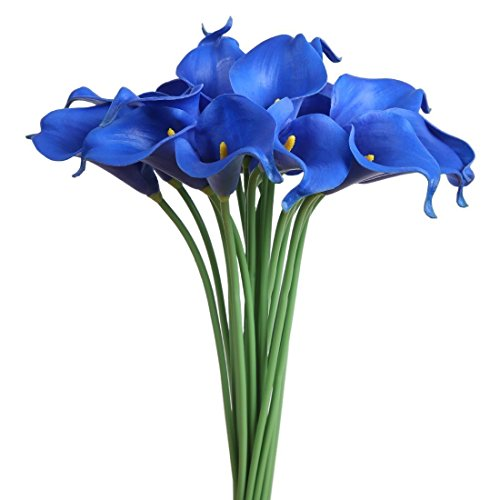 Latex Real Touch Artificial Calla Lily Flower Bouquet Wedding Party Home Bedroom Garden Restaurant Decoration - Bunch of 10 (Sapphire Blue)