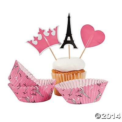 Fun Express Perfectly Paris Baking Cups With Picks - 100 Pieces (Paris Party Decorations)