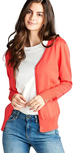 Detail Cardigan V-neck (ToBeInStyle Women's L.S. Button Detail Classic V-Neck Cardigan - Coral - Medium)