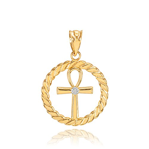 14k Yellow Gold Roped Circle Egyptian Ankh Cross with Diamond Pendant