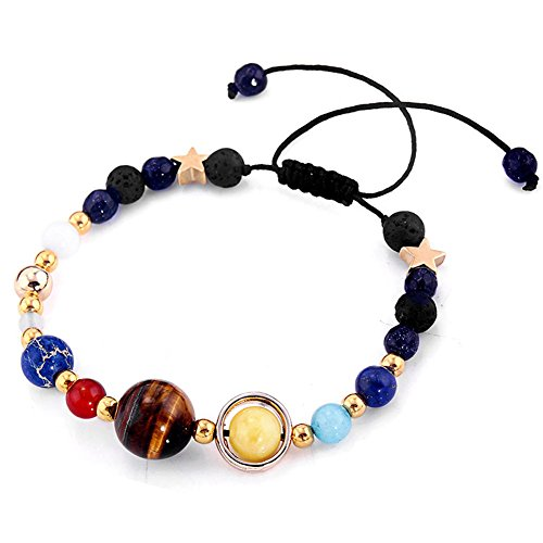Banana Bucket Adjustable Handmade Solar System Bracelet - Universe Galaxy The Nine Planets Guardian Star Natural Stone Beads Bracelets Bangles