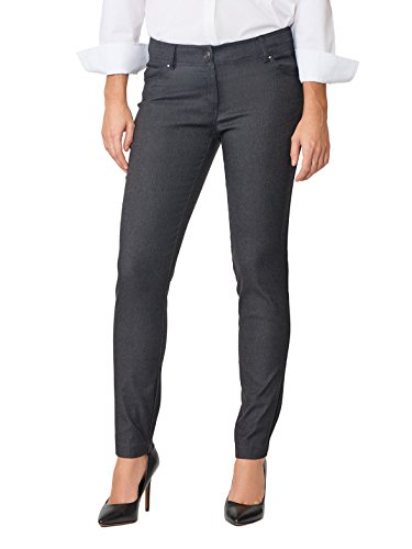 - 89th + Madison Women's Five Pocket Stretch Straight Leg Pants Charcoal Heather Grey