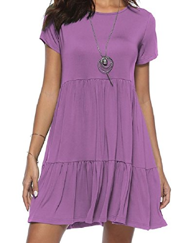 Dress Light Purple Pure Short Pleated Colour Sleeve Women Length Oversized Knee Coolred wqOc1z7Wvp