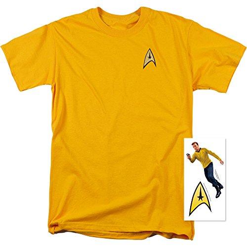 Star Trek Command Uniform Shirt w/ Liquid Gold Ink & Exclusive Stickers (L) (Star Trek Enterprise Uniform)