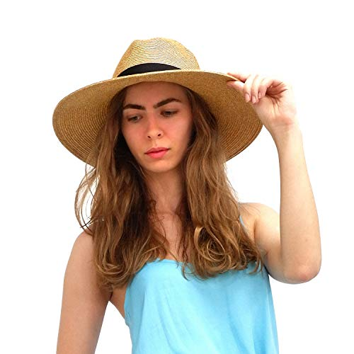 (Womens Sun Straw Panama Hats Summer Wide Brim Beach Casual Adjustable Foldable Fedora Hat With UV Protection Mix Brown L)