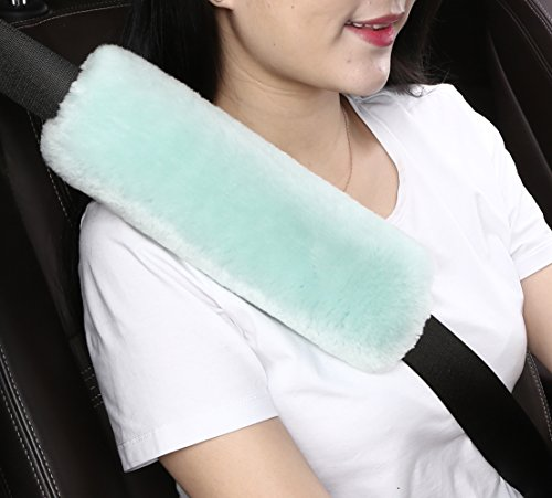 Dotesy Auto Genuine Sheepskin Seat Belt Cover,Universal Fuzzy Pure Wool Car Seatbelt Cover Shoulder Pads for Adults Kids Children,Safety Belt Strap Chest Protector Neck Cushion,Mint Green