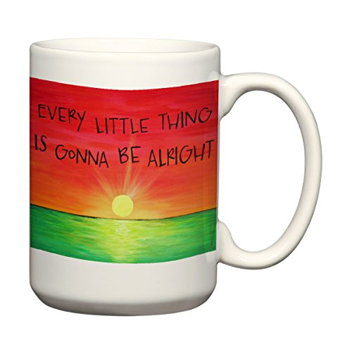 Every Little Thing is Gonna Be Alright Sunset Coffee Mug Inspirational Quotes Art 15 oz Coffee Mug (Coffee Oz Art Mug 15)