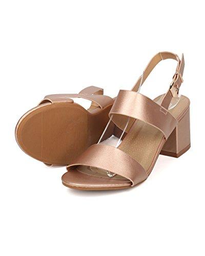 Alrisco Women Leatherette Low Chunky Heel Sandal - Open Toe Instep Strap Ankle Cuff - HA43 by Rose Gold Metallic XLKFV