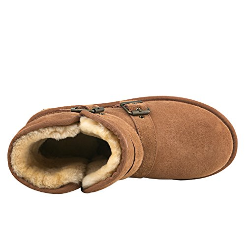 gamba fiocchetti con Caldo Castagna corta a da Invernali Classico neve Stivali Scarpe DVC041 Uomo Shenduo wYq10TzY