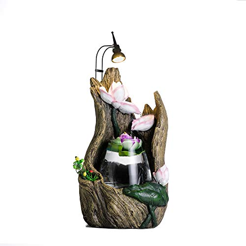 crapelles Tabletop Fountain Driftwood Stump Lotus Waterfall Indoor Resin and Glass humidifier Spring Cascading Water Illuminated Blossom with LED Light Show (Driftwood Resin Table)