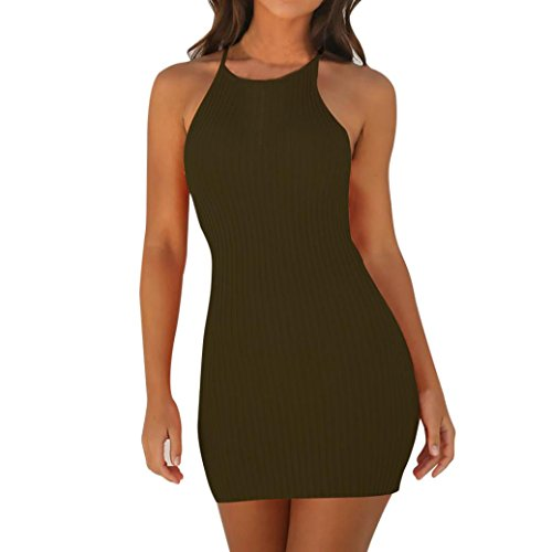 TLOOWY Mini Dress, Women Sexy Halter Neck Sleeveless Short Bodycon Dress Summer Party Club Dress Solid Color (Green, XL) ()
