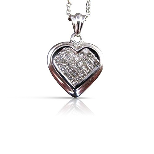 Milano Jewelers .73CT DIAMOND 14KT WHITE GOLD 3D INVISIBLE HEART LOVE PENDANT #10862