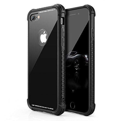 Besiva Phone Case Compatible iPhone 8,iPhone 7, Tempered Glass Back Cover Soft Silicone Rubber Bumper Frame Shock Absorption Anti-Scratch Support Wireless Charging Compatible iPhone 8/7, Afds
