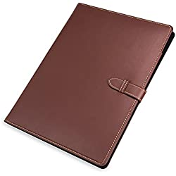 Samsill Contrast Stitch Leather Padfolio with Strape Closure– Portfolio Folder/Business Portfolio for Men & Women – Resume Document Organizer, 8.5 x 11 Writing Pad, Tan