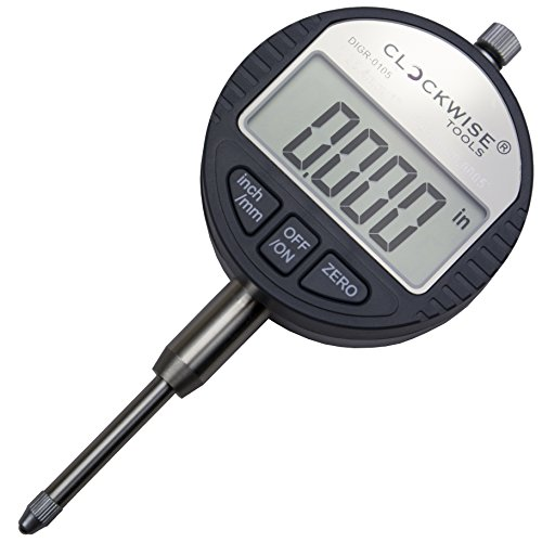 Clockwise Tools DIGR-0105 Electronic Digital Dial Indicator Gage Gauge Inch/Metric Conversion 0-1 Inch/25.4 mm with Back Lug Auto Off Featured Measuring Tool (Digital Dial Indicator)